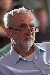 © Licensed to London News Pictures. 01/09/2015. London, UK. Jeremy Corbyn listening to speeches at the Arcola Theatre in Dalston, east London this evening, where he launched his Vision for the future of the arts. Photo credit : Vickie Flores/LNP