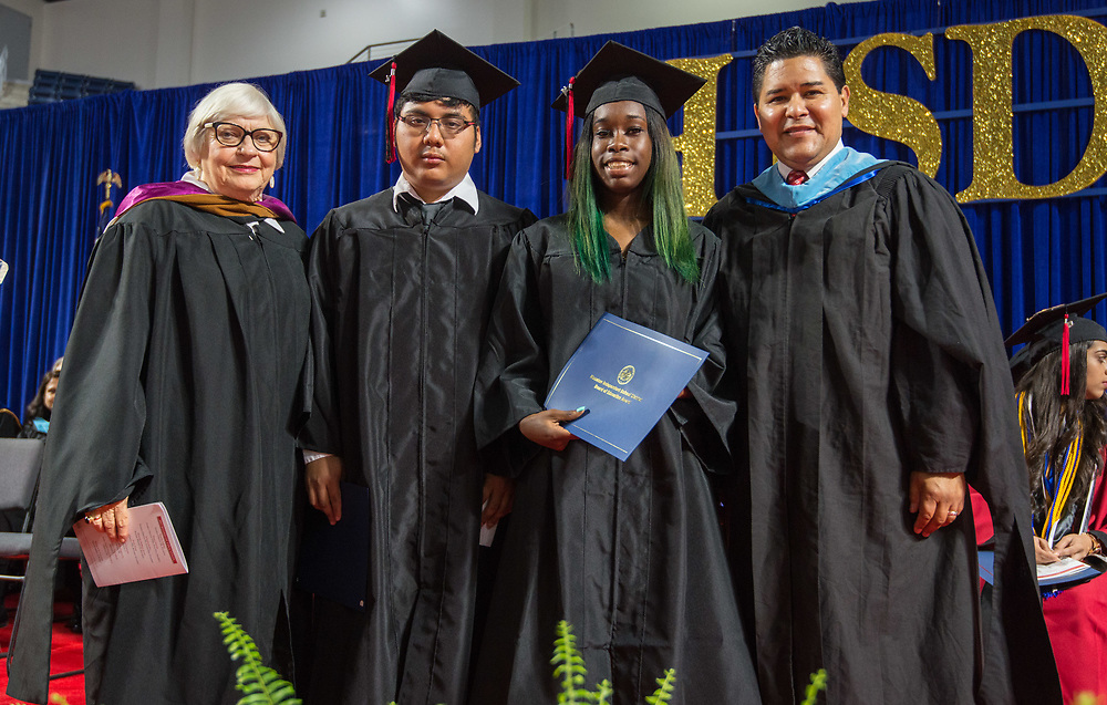 Houston ISD Board Award honorees during the Furr / Reach High School graduation in Delmar Fieldhouse, May 26, 2017. The ceremony was the first graduation to be held in the newly constructed facility.