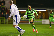 Forest Green Rovers Keanu Marsh-Brown(7)  takes on Tranmere Rovers Steve McNulty(5) during the Vanarama National League match between Forest Green Rovers and Tranmere Rovers at the New Lawn, Forest Green, United Kingdom on 22 November 2016. Photo by Shane Healey.