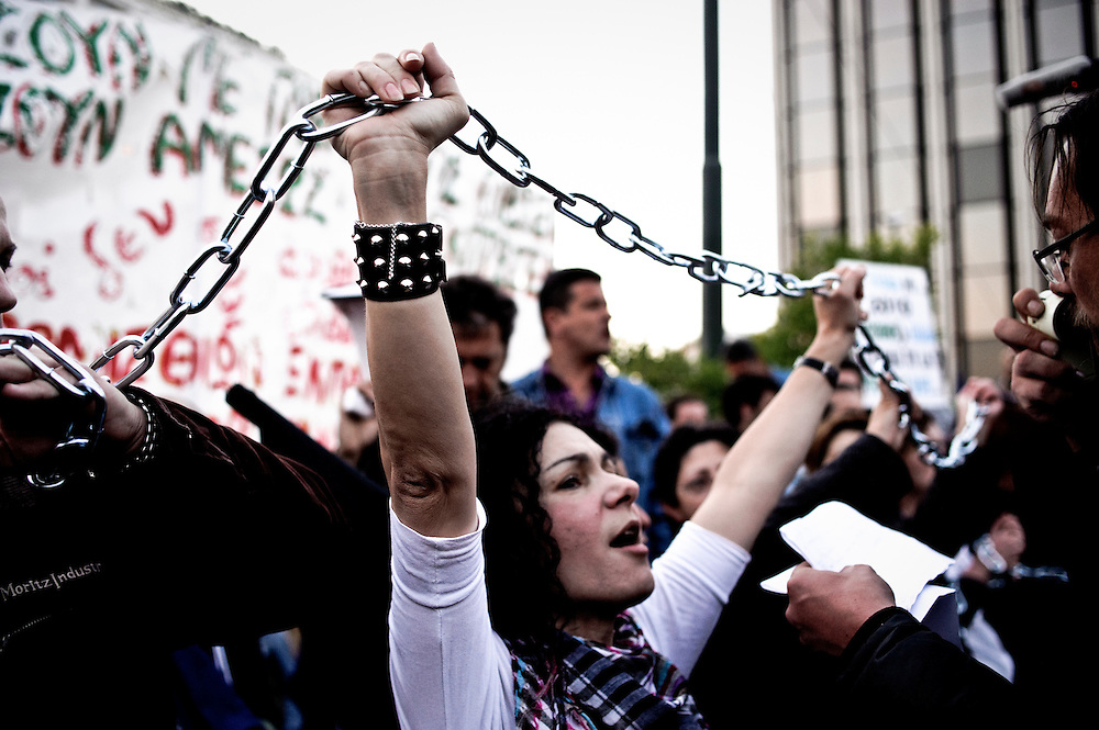 27-04-2010. Teachers belonging to the OLME union tie themselves in chains in front of the parliament protesting against education reform, Athens, Greece