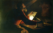 St Luke the Evangelist writing his gospel watched by his symbol, an ox. French School, 17th century.