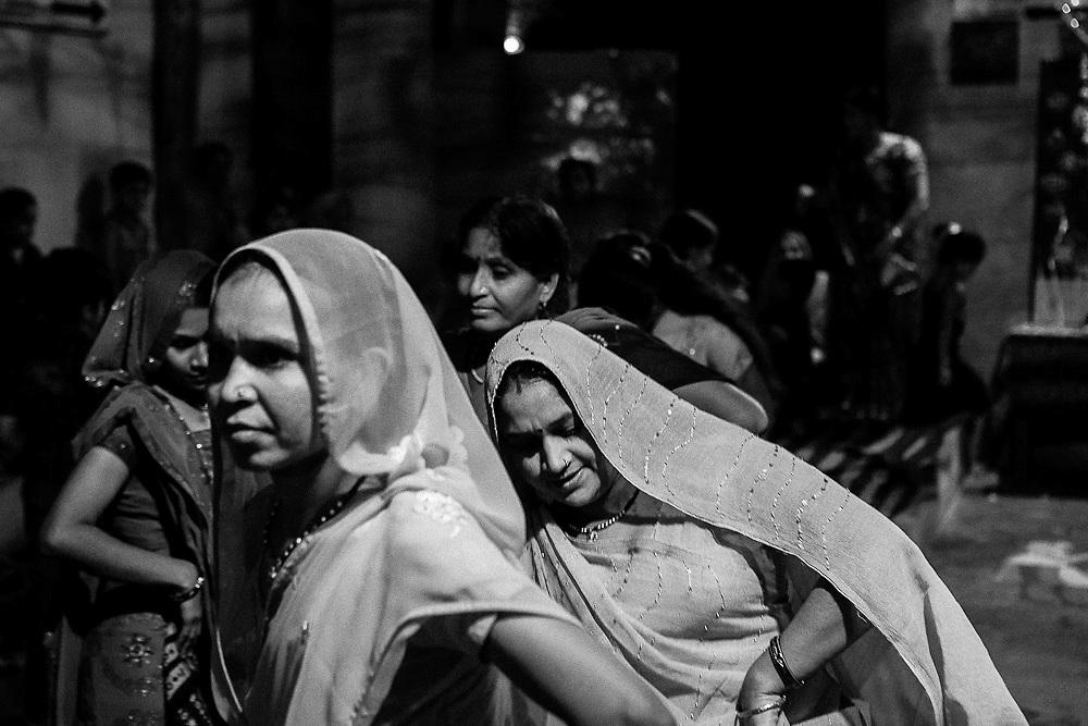 Indian women dancing for the Goddess Durga in Bundi, Rajasthan,
