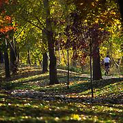 Bicyclist on the Boise Greenbelt, Boise, Idaho