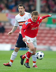 WREXHAM, WALES - Monday, May 7, 2012: Wrexham's Jay Harris in action against Luton Town during the Football Conference Premier Division Promotion Play-Off 2nd Leg at the Racecourse Ground. (Pic by David Rawcliffe/Propaganda)