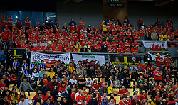 NANNING, CHINA - Thursday, March 22, 2018: Wales supporters during the opening match of the 2018 Gree China Cup International Football Championship between China and Wales at the Guangxi Sports Centre. (Pic by David Rawcliffe/Propaganda)