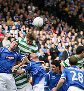Glenn Loovens comes close with a header during the League Cup final between Rangers and Celtic at Hampden Park -<br /> David Young Universal News And Sport