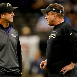 Nov 24, 2014; New Orleans, LA, USA; Baltimore Ravens head coach John Harbaugh and New Orleans Saints head coach Sean Payton prior to kickoff of a game at the Mercedes-Benz Superdome. Mandatory Credit: Derick E. Hingle-USA TODAY Sports