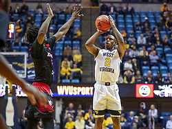 Dec 22, 2018; Morgantown, WV, USA; West Virginia Mountaineers guard Brandon Knapper (2) shoots a jumper during the second half against the Jacksonville State Gamecocks at WVU Coliseum. Mandatory Credit: Ben Queen-USA TODAY Sports