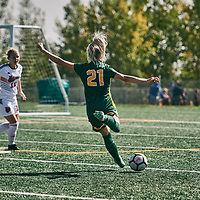2nd year forward, Sally Bachmann (21) of the Regina Cougars during the Women's Soccer home game on Sun Sep 09 at U of R Field. Credit: Arthur Ward/Arthur Images