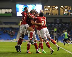 Derrick Williams of Bristol City celebrates his goal with team mates - Mandatory byline: Dougie Allward/JMP - 07966 386802 - 20/10/2015 - FOOTBALL - American Express Community Stadium - Brighton, England - Brighton v Bristol City - Sky Bet Championship
