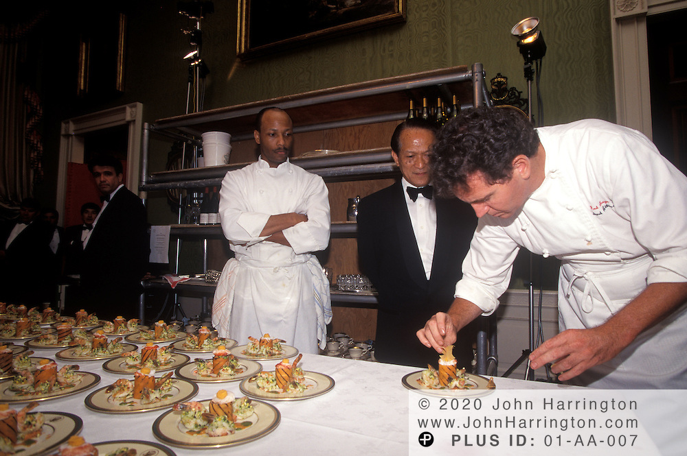 IN THE GREEN ROOM, CHEFS PUT THE FINAL TOUCHES ON THE FIRST COURSE OF A STATE DINNER.