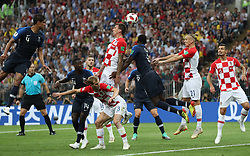MOSCOW, July 15, 2018  Mario Mandzukic (2nd L, top) of Croatia scores an own goal during the 2018 FIFA World Cup final match between France and Croatia in Moscow, Russia, July 15, 2018. (Credit Image: © Cao Can/Xinhua via ZUMA Wire)