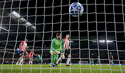 PSV Eindhoven's goalkeeper Jeroen Zoet (centre) reacts after Tottenham Hotspur's Lucas Moura (27) scores his side's first goal of the game