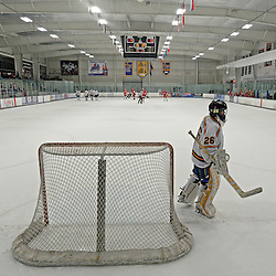 TOM KELLY IV - DAILY TIMES<br /> Springfield goalie Bryan Biehl (26) skates near the goal.  Penncrest takes on Springfield at Ice Works in Aston, Friday night December 2, 2014.