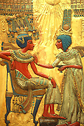 EGYPT, CAIRO, ART King Tut's throne, inlay with Queen