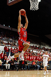 Nov 14, 2011; Stanford CA, USA;  Fresno State Bulldogs guard Steven Shepp (12) leaps for a dunk against the Stanford Cardinal during the first half of a preseason NIT game at Maples Pavilion. Mandatory Credit: Jason O. Watson-US PRESSWIRE