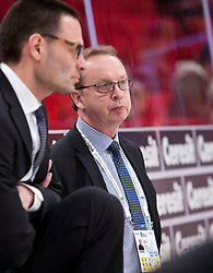 15.05.2012, Ericsson Globe, Stockholm, SWE, IIHF, Eishockey WM, Schweden (SWE) vs Lettland (LVL), im Bild Sverige Sweden tränare Head coach Pär Mårts, Sverige Sweden assisterande tränare assistent Coach Popovic Peter // during the IIHF Icehockey World Championship Game between Schweden (SWE) vs Latvia (LVL) at the Ericsson Globe, Stockholm, Sweden on 2012/05/15. EXPA Pictures © 2012, PhotoCredit: EXPA/ PicAgency Skycam..***** ATTENTION - OUT OF SWE *****