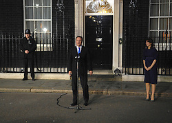 © under license to London News Pictures. LONDON. 05/05/2011. One year on since the last General Election. FILE PICTURE DATED. 11/05/10. David Cameron makes a speech telling the media he has accepted Queen Elizabeth II's invitation to form a new Government. British Prime Minister Gordon Brown has resigned his position and David Cameron has become the new British Prime Minister on May 11, 2010. The Conservative and Liberal Democrats are to form a coalition government after five days of negotiation. Photo credit should read Stephen Simpson/LNP