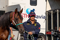 Endurance Team Sultanate of Oman<br /> Departure horses from Liege Airport<br /> FEI World Equestrian Games™ Tryon 2018<br /> © Hippo Foto - Dirk Caremans<br /> 01/09/2018