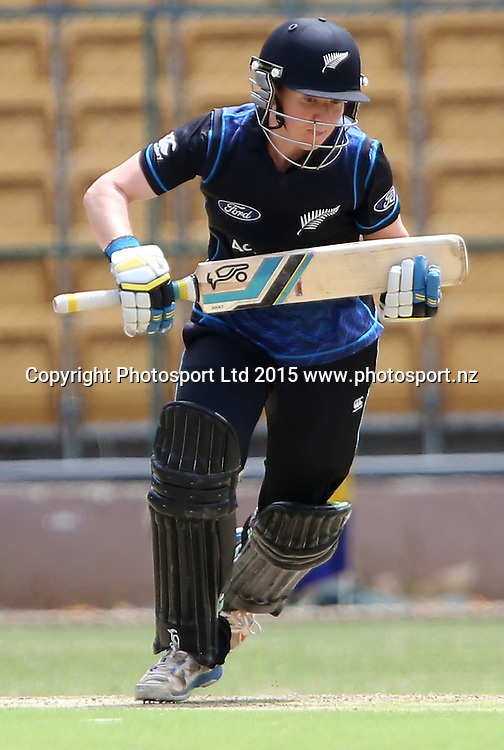 New Zealand Kattie Perkings in action during the 4th ODI match against India at Chinnaswamy Stadium in Bangalore.