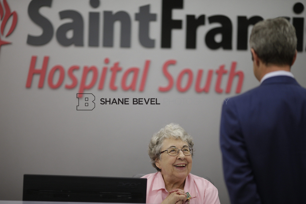8/9/17 1:47:56 PM -- Photos of Saint Francis South employees and David Weil. <br /> <br /> Photo by Shane Bevel
