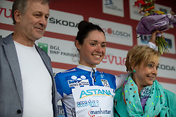 Sofia Bertizzolo of Astana celebrates wearing the best climber's blue jersey after Stage 1 of the Festival Elsy Jacobs - a 97.7 km road race, starting and finishing in Steinfort on April 28, 2018, in Luxembourg. (Photo by Balint Hamvas/Velofocus.com)