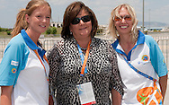 (C) Anna Komorowska - First Lady of Poland with volounteers after cycling competition during 2011 Special Olympics World Summer Games Athens on June 27, 2011..The idea of Special Olympics is that, with appropriate motivation and guidance, each person with intellectual disabilities can train, enjoy and benefit from participation in individual and team competitions...Greece, Athens, June 27, 2011...Picture also available in RAW (NEF) or TIFF format on special request...For editorial use only. Any commercial or promotional use requires permission...Mandatory credit: Photo by © Adam Nurkiewicz / Mediasport