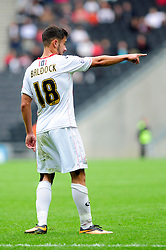 Milton Keynes Dons' George Baldock  - Photo mandatory by-line: Dougie Allward/JMP - Tel: Mobile: 07966 386802 24/08/2013 - SPORT - FOOTBALL - Stadium MK - Milton Keynes -  Milton Keynes Dons V Bristol City - Sky Bet League One