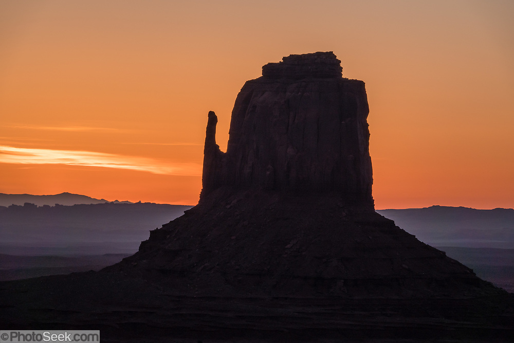 East Mitten Butte at sunrise in Monument Valley Navajo Tribal Park, Arizona, USA.