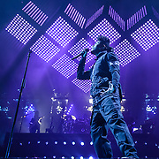 "WASHINGTON, DC - NOVEMBER 15th, 2015 - The Weekend performs at the Verizon Center in Washington, D.C. His most recent album, Beauty Behind the Madness, contains the #1 singles ""The Hills"" and ""Can't Feel My Face"". (photo by Kyle Gustafson / FTWP)"