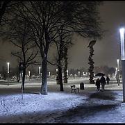 Nella foto la piazza olimpica ( piazza d'armi).. Turin under snow, Torino sotto la neve.