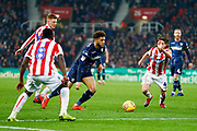 Leeds United forward Tyler Roberts (11) in action  during the EFL Sky Bet Championship match between Stoke City and Leeds United at the Bet365 Stadium, Stoke-on-Trent, England on 19 January 2019.