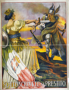World War I - the Italian Campaign 1915-1918:  1917 Italian poster appealing  for contributions to war loan to repel  the Austro-Hungarian and German alliance. Allegorical figure of Italy with broadsword confonting a Barbarian.