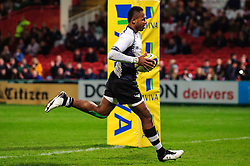 Fiji Winger (#14) Timoci Matanavou scores a try during the first half of the match - Photo mandatory by-line: Rogan Thomson/JMP - Tel: Mobile: 07966 386802 13/11/2012 - SPORT - RUGBY - Kingsholm Stadium - Gloucester. Gloucester Rugby v Fiji - International Friendly
