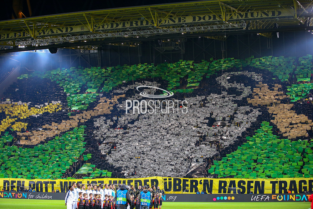 Borussia Dortmund fans put together a display as the players line up ahead of the Champions League round of 16, leg 2 of 2 match between Borussia Dortmund and Tottenham Hotspur at Signal Iduna Park, Dortmund, Germany on 5 March 2019.