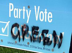 Wellington-Electorial billboards defaced