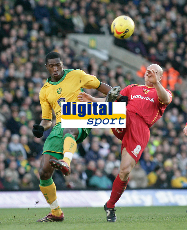 Dickson Etuhu and Gavin Mahon..<br /> Norwich City v Watford, Cocal Cola Championship, 21/01/06. Photo by Barry Bland