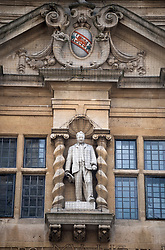 © Licensed to London News Pictures. 09/06/2020. Oxford, UK. A statue of Cecil Rhodes at the front entrance to Oriel College at Oxford University, where a demo will be held later by campaigners calling for it's removal. Black Lives Matter protesters recently pulled down a statue of slave trader Edward Colston in nearby Bristol Town centre, following the death of George Floyd in the U.S.A . Photo credit: Ben Cawthra/LNP
