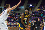 FORT WORTH, TX - JANUARY 4: Devin Williams #41 of the West Virginia Mountaineers drives to the basket against the TCU Horned Frogs on January 4, 2016 at Ed and Ray Schollmaier Arena in Fort Worth, Texas.  (Photo by Cooper Neill/Getty Images) *** Local Caption *** Devin Williams