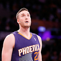 10 December 2013: Phoenix Suns center Miles Plumlee (22) rests during the Phoenix Suns 114-108 victory over the Los Angeles Lakers at the Staples Center, Los Angeles, California, USA.