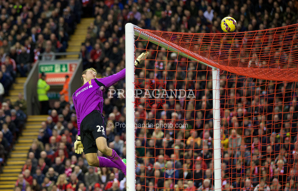 LIVERPOOL, ENGLAND - Thursday, New Year's Day, January 1, 2015: Liverpool's goalkeeper Simon Mignolet in action against Leicester City during the Premier League match at Anfield. (Pic by David Rawcliffe/Propaganda)