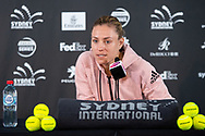 SYDNEY, NSW - JANUARY 07: Defending Champion Angelique Kerber (GER) during today's press conference at The Sydney International Tennis on January 07, 2018, at Sydney Olympic Park Tennis Centre in Homebush, Australia. (Photo by Speed Media/Icon Sportswire)