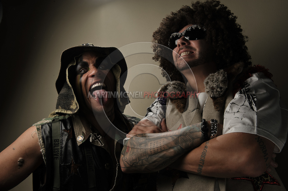 "A portrait of mixed martial arts personalities Charles ""Mask"" Lewis Jr. and Tim ""Skyskrape"" Katz of clothing company Tapout"