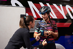 Elena Cecchini (ITA) gets some pre-race encouragement from CANYON//SRAM Racing soigneur, Alessandra Borchi at Boels Ladies Tour 2018 - Stage 4, a 124.3km road race from Stramproy to Weert, Netherlands on August 31, 2018. Photo by Sean Robinson/velofocus.com
