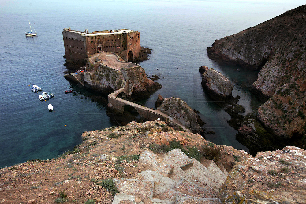 """Forte São João Baptista a Manueline military fortress built in 1502 on a rock at Berlenga island, a marine reserve and classified by the Council of Europe as a """"Biosphere Reserve"""",  is now becoming an environmentally sustainable island from power generation, water, wastewater and solid waste treatment/recycle to reducing pollution at the source. This portuguese atlantic archipelago consists of a large island,  Berlenga Grande, rose granite made, and some small islands and rocks (Estelas and Farilhões), which are situated some 15 km off the headland of Cabo Carvoeiro to the north-west of Peniche, which is about 100 km north of Lisbon  .PHOTO PAULO CUNHA/4SEE"""
