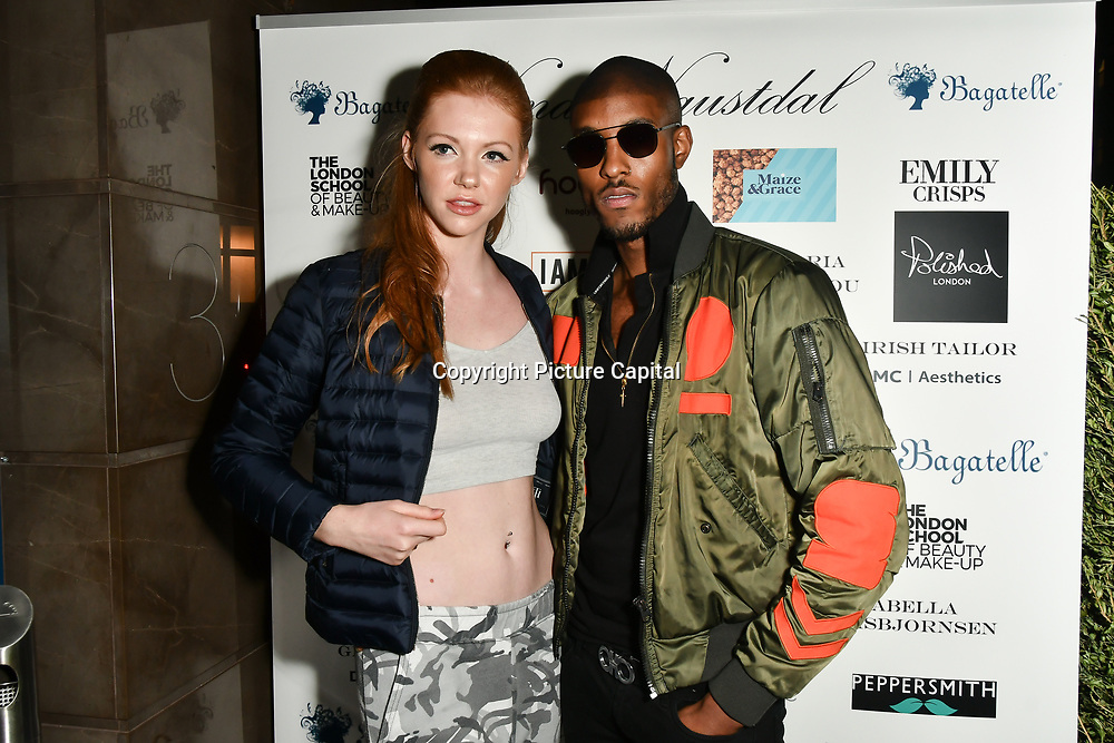 Stefan-Pierre Tomlin (R) Arrivers at Nina Naustdal catwalk show SS19/20 collection by The London School of Beauty & Make-up at Bagatelle on 26 Feb 2019, London, UK.