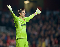 LONDON, ENGLAND - Saturday, November 22, 2014: Arsenal's goalkeeper Emiliano Martinez in action against Manchester United win 2-1 during the Premier League match at the Emirates Stadium. (Pic by David Rawcliffe/Propaganda)