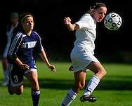 4 MAY 2010 -- ST. LOUIS -- Visitation Academy girls' soccer player Sandra Thorarensen (17, right ) battles for the ball with Katlynn Rood (3) from St. Dominic High School during a game between the two schools Tuesday, May 4, 2010 at Visitation in St. Louis. Visitation won the match, 2-1. Photo © copyright 2010 by Sid Hastings.