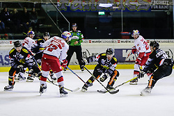 18.11.2016, Messestadion, Dornbirn, AUT, EBEL, Dornbirner Eishockey Club vs EC Red Bull Salzburg, 20. Runde, im Bild v. l. Nicholas Crawford, (Dornbirner Eishockey Club, #04), John Hughes, (EC Red Bull Salzburg, #72), Brian Connelly, (Dornbirner Eishockey Club, #20), Daniel Welser, (EC Red Bull Salzburg, #20) und Dustin Sylvester, (Dornbirner Eishockey Club, #19) // during the Erste Bank Icehockey League 20th round match between Dornbirner Eishockey Club and EC Red Bull Salzburg at the Messestadion in Dornbirn, Austria on 2016/11/18, EXPA Pictures © 2016, PhotoCredit: EXPA/ Peter Rinderer