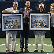 August 21, 2014, New Haven, CT:<br /> Tournament Director Anne Worcester is honored during an on court presentation on day seven of the 2014 Connecticut Open at the Yale University Tennis Center in New Haven, Connecticut Thursday, August 21, 2014.<br /> (Photo by Billie Weiss/Connecticut Open)